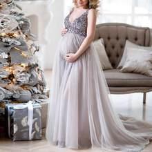 Sexy macierzyństwo strzelać cekiny do sukienki tiul ciąża fotografia sukienki bez rękawów suknia Maxi dla kobiet w ciąży długie zdjęcie Prop