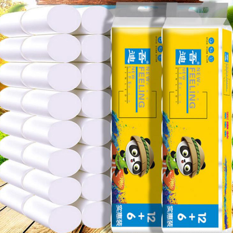 Wholesale 18 Rolls 4 Layer Toilet Tissue Home Bath Toilet Roll Toilet Paper Soft Toilet Paper Skin-friendly Paper Towels New