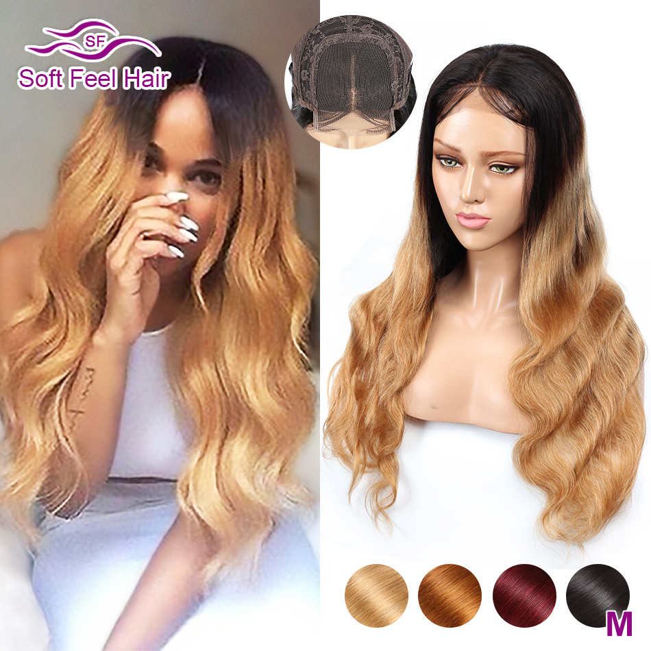 Soft Feel Hair 4x4 Lace Closure Wig Honey Blonde Ombre Human Hair Closure Wigs For Women Remy Brgundy Brazilian Body Wave Wigs