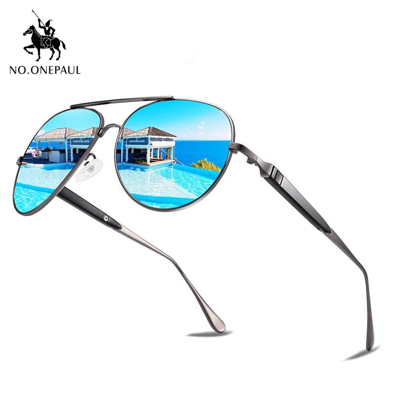 NO.ONEPAUL NEW Fashion Sunglasses Fishing Driving Sunglasses Brand Men UV400 Polarized Square Metal Frame Male Sun Glasses