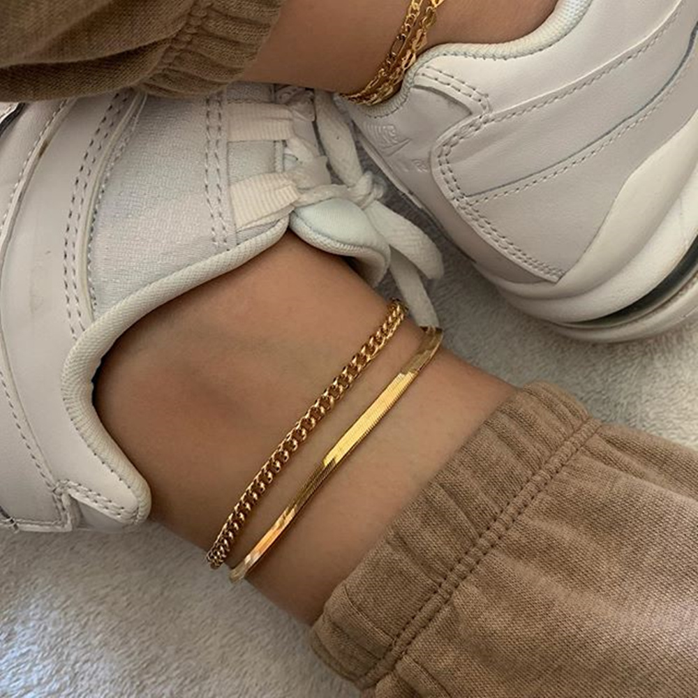 MissCyCy Fashion Double layer Ankle Bracelet for Women Snake Chain Leg Chain Anklet Vintage Foot Jewelry Accessories