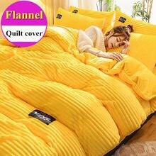 Wostar sólida flanela colcha capa inverno quente única dupla rainha king size conjunto de cama luxo têxtil para casa (sem 2pc fronha)