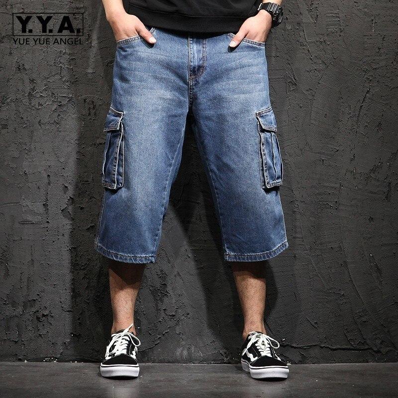 Casual Mens Shorts Jeans Men Summer Big Pockets Shorts Plus Size 48 Baggy Denim Trousers Male Calf Length Loose Fit Harem Pants