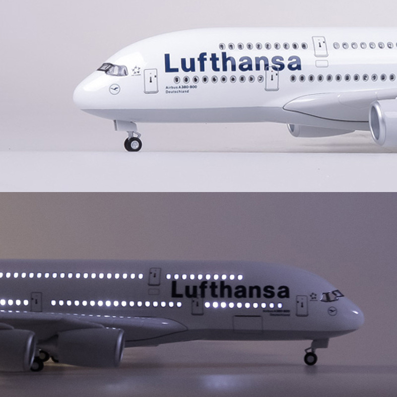 1/160 Airplane Airbus Lufthansa Airline Model A380 45.5CM Model W Light Wheel Diecast Plastic Resin Plane For Collection Gift