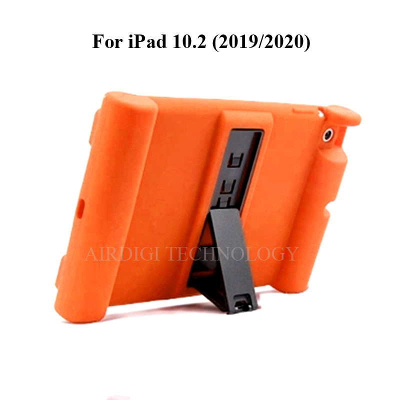 orange Beige Soft Shockproof Silicone Cover Kickstand Case for iPad 10 2 A2198 A2200 A2197 A2270 A2428 A2429