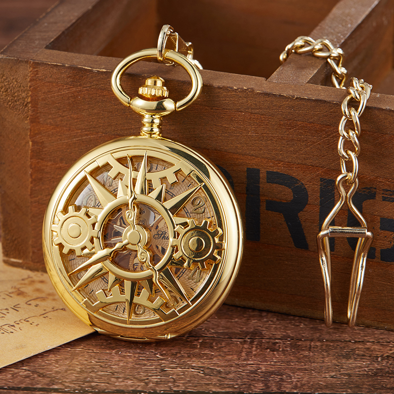 Fashion Unique Design Steampunk Skeleton Mechanical Pocket Watch Men Antique Luxury Brand Necklace Pocket & Fob Watches Chain Ma