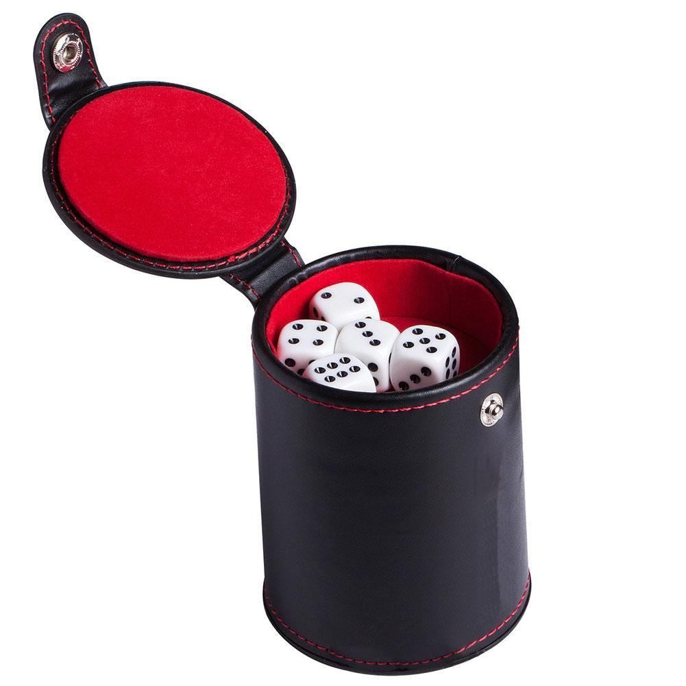 PU Leather Dice Cup With Storage Compartment For Most Dice Game Red Felt Lined For Bar Party Dice Entertainment Games
