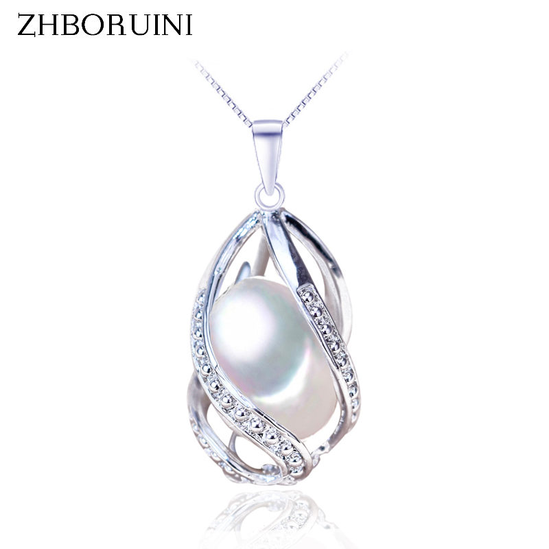 ZHBORUINI Pearl Necklace Pearl Jewelry 925 Sterling Silver Jewelry For Women Natural Freshwater Pearl Beads Pendants Wholesale