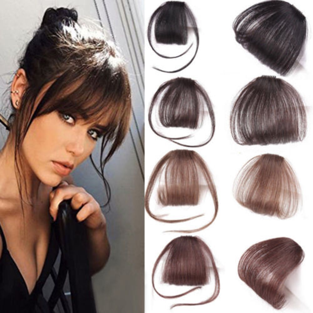 New Thin Air Neat Wispy Bangs Real Remy Human Hair Clip In Fringe Front Hairpiece Air Bangs Remy Human Hair Extensions Clip