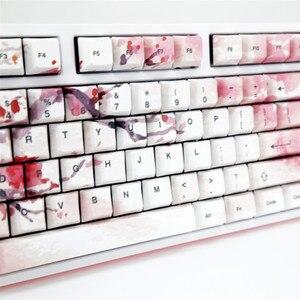 Image 2 - مجموعة كاملة من أغطية مفاتيح أزهار الكرز ، أغطية مفاتيح ميكانيكية PBT 5 ، مجموعة أغطية مفاتيح صبغ وتسامي الوجه لجميع أنواع ساكورا