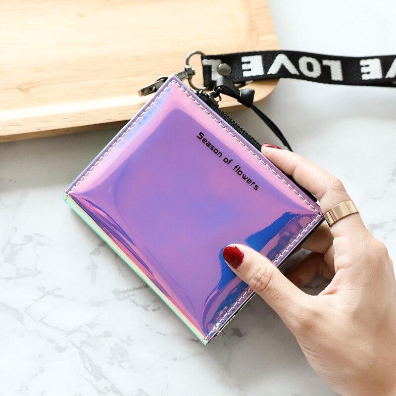 Fashion Small Wallet Women Short Trifold Thin Purses Ladies Money Bag Korean Female Holographic Wallet 2019 Walet Slim Vallet