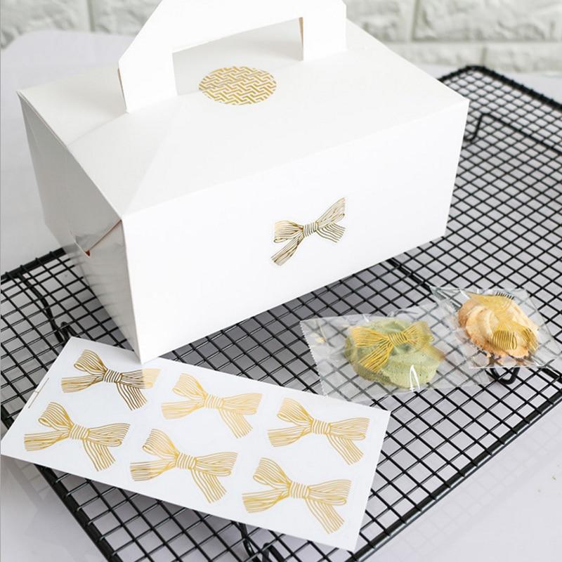 60pcs/lot Transparent Big Bow Gold Handmade Cake Cookies Bag Box Packaging Sealing Label Sticker Baking DIY Gift Party Stickers