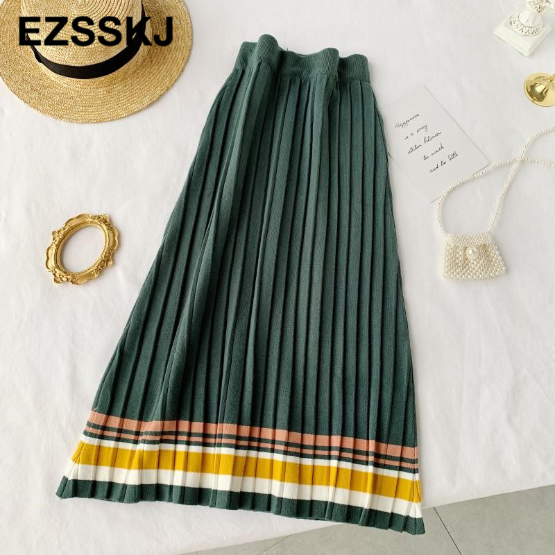 Image 4 - 2019 autumn winter elastic waist pleated sweater skirt women hit color strip knit skirt female casual new thick skirt-in Skirts from Women's Clothing