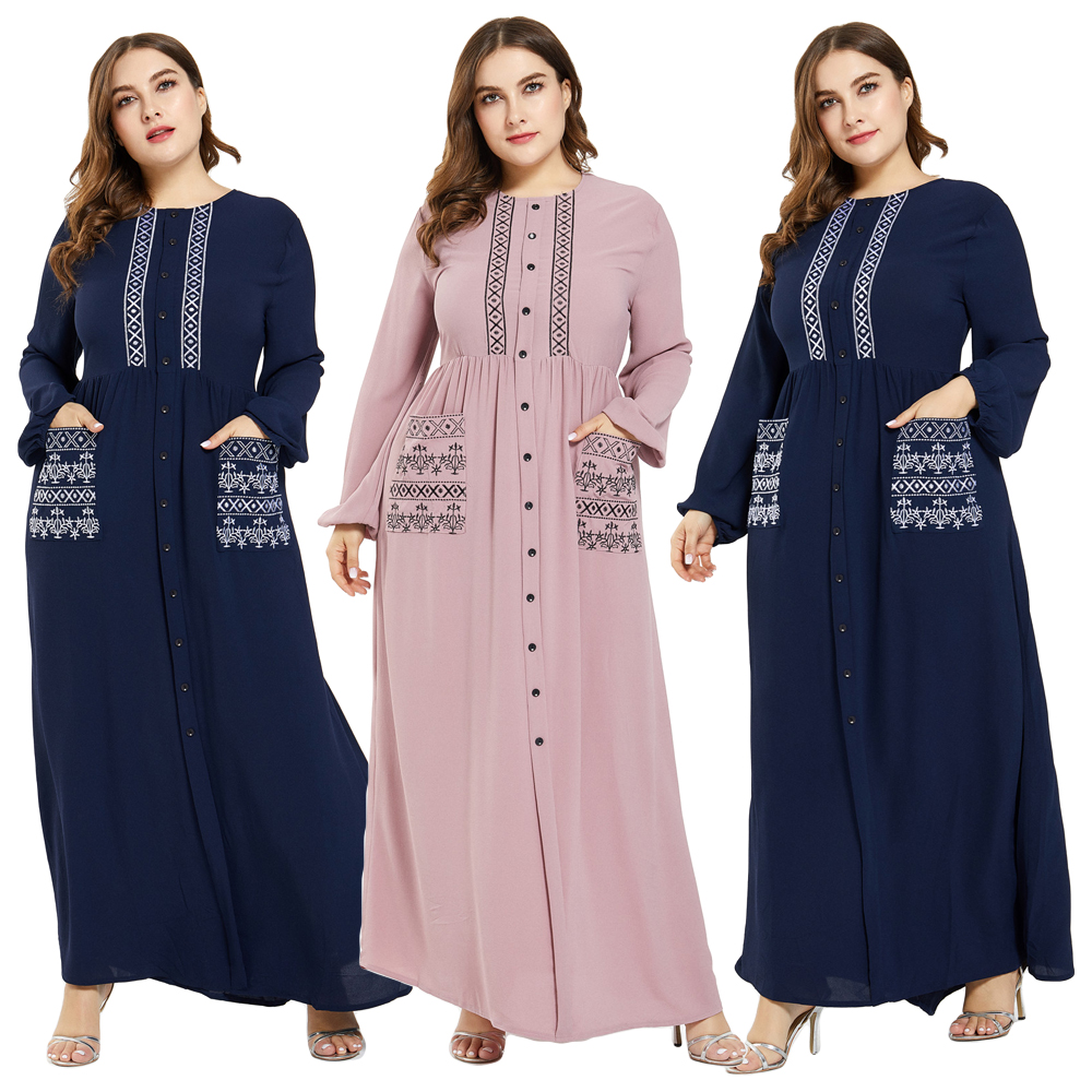 Muslim Women Abaya Islamic Maxi Long Sleeve Dress Buttons Pocket Kaftan Jilbab Turkish Plus Size Cocktail Party Jilbab Robe Gown