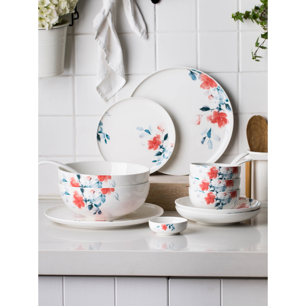plate creative dishes and plates sets floral printed pigmented Japan style ins popular food container dinner plates bowls saucer