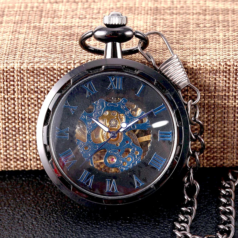 8936Black Carved Transparent Glossy Blue Roman Scale Mechanical Large Pocket Watch