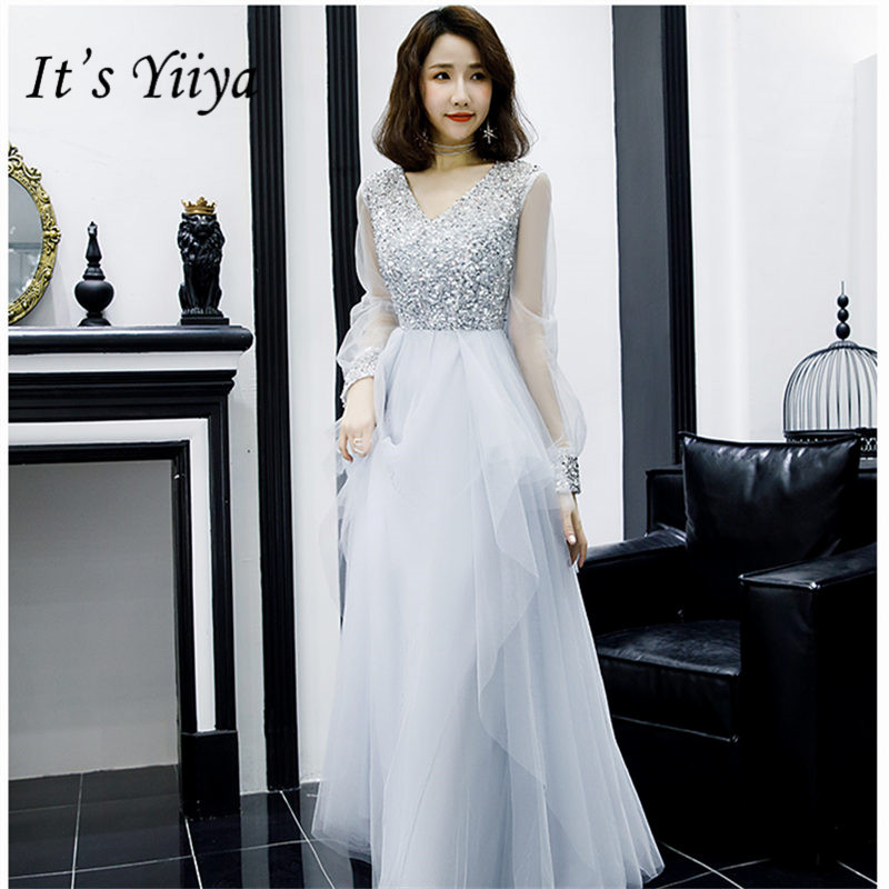 It's Yiiya Evening Dress 2019 Elegant V-Neck A-Line Robe De Soiree Full Sleeve Floor-Length Sequin Women Party Dresses E825