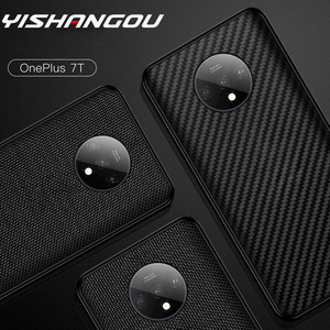 YISHANGOU Soft Bumper Case For OnePlus 1+ 7T Pro 7T 7 Pro 6T 6 With Matte Nylon Carbon Fibre Pattern(China)