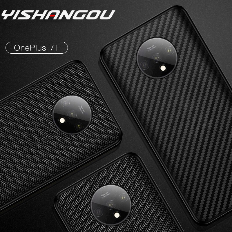 YISHANGOU Soft <font><b>Bumper</b></font> <font><b>Case</b></font> For <font><b>OnePlus</b></font> 1+ 7T Pro 7T 7 Pro <font><b>6T</b></font> 6 With Matte Nylon Carbon Fibre Pattern image