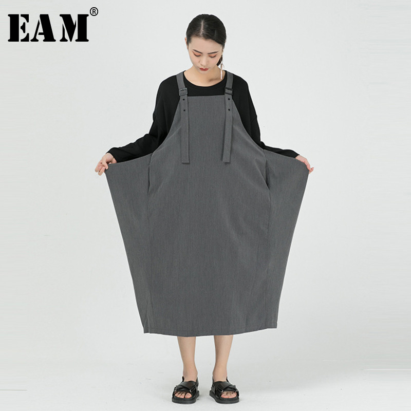 [EAM] Women Black Buckle Vent Split Joint Long Big Size Strapless Dress New Loose Fit Fashion Tide Spring Summer 2020 1W079