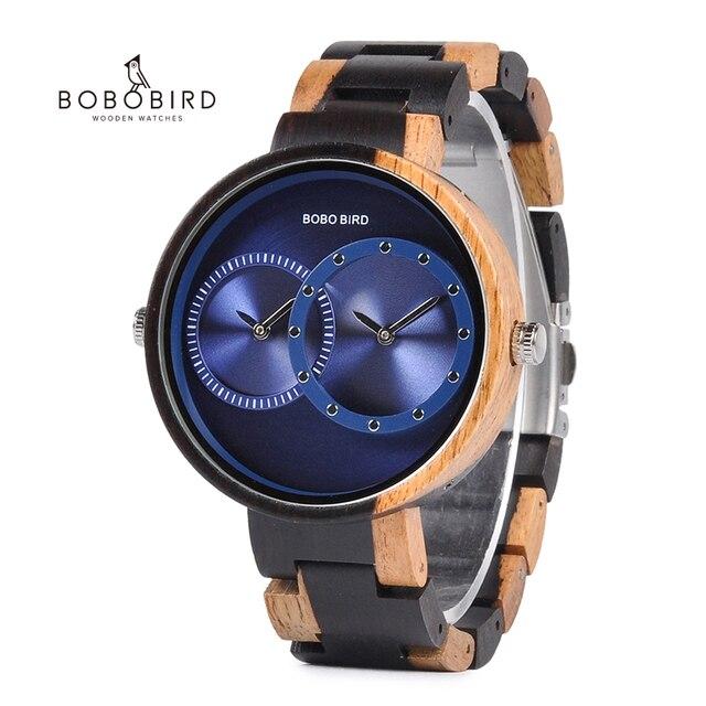 בובו ציפור יוקרה גברים שעון זוג שעונים שני שונה זמן אזור תצוגה עם מיוחד צבע חדש עיצוב reloj mujer C R10