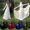 Wepbel medieval gótico do vintage vestido longo manga comprida cintura alta com capuz até o chão retro maxi vestido de halloween cosplay vestidos