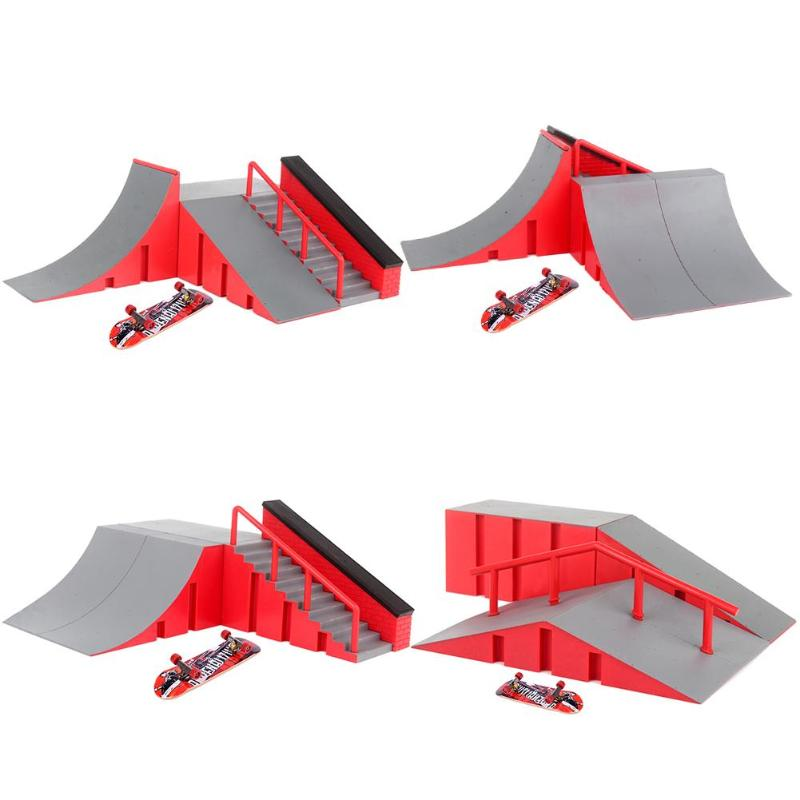 Training Games Finger Skating Board With Ramp Parts Track Kids Toys Gift Kate Park Fingerboard Mini Skateboard Toys For Kid Gift
