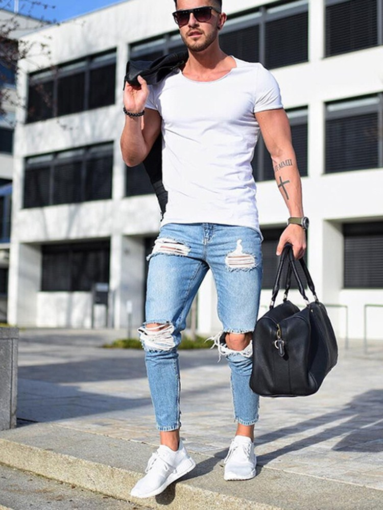 Mens Ripped Jeans Casual Skinny Slim Fit Denim Pants Biker Hip Hop Jeans With Sexy Holel Skinny Distressed Jeans