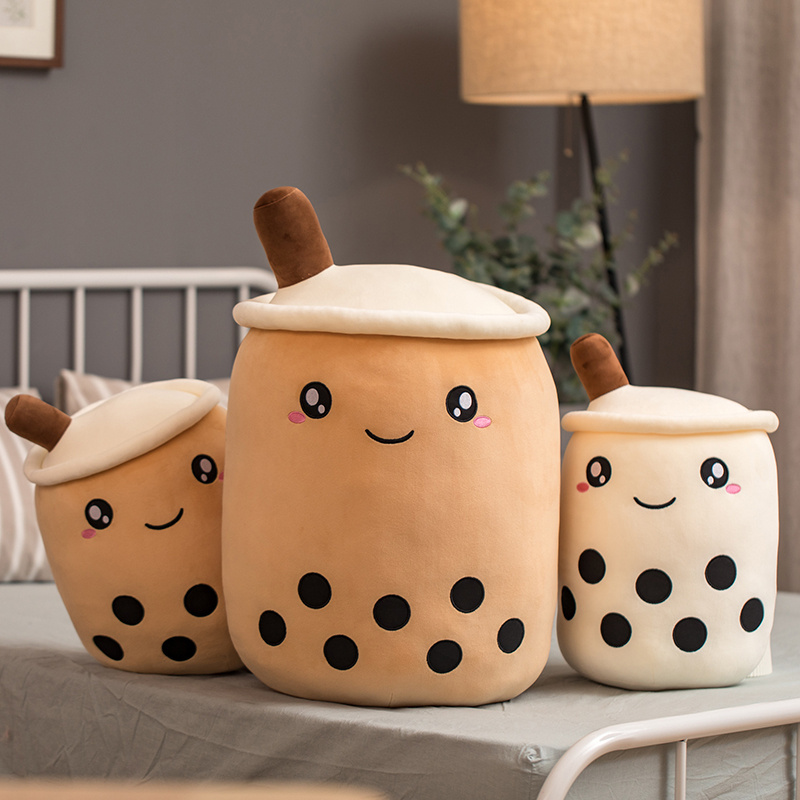 Boba Tea Cup Plush Toys Bubble Milk Tea Stuffed Pillow Popping Food Straws Soft Kawaii Room Decor Birthday Gifts For Boys Girls