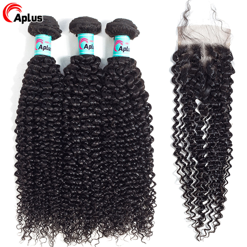 Aplus Hair Kinky Curly Bundles With Closure Mongolian Human Hair Bundles With Closure Brown Swiss Lace For Women Pre Plucked