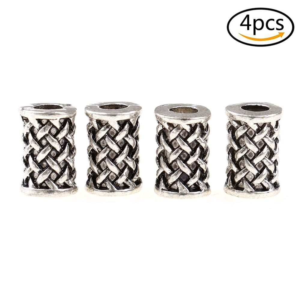 4pcs/bag Viking Rune Hair Braid Beads Beard Silvery Dreadlock Beads 3mm Hole Hair Rings Braiding Hair Jewelry