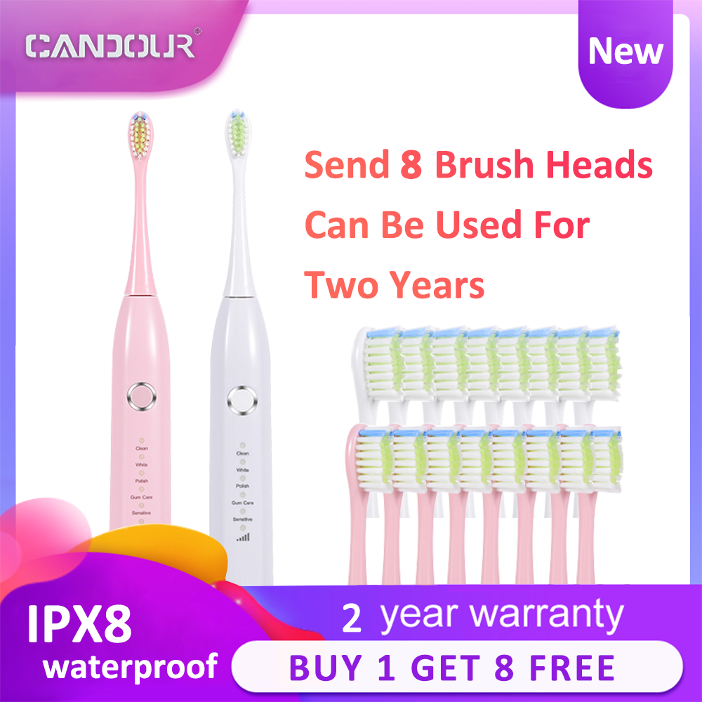 Smart Sonic Electric Toothbrush Waterproof 15 Modes IPX8 Replaceable Brush Head Rechargeable Toothbrush Long battery life image