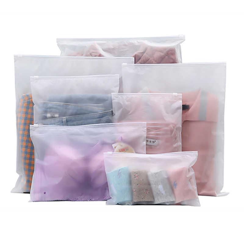 상단 매트 투명 플라스틱 스토리지 가방 여행 가방 지퍼 잠금 밸브 슬라이드 인감 속옷 패키지 스토리지 reclosable eva 파우치 가방