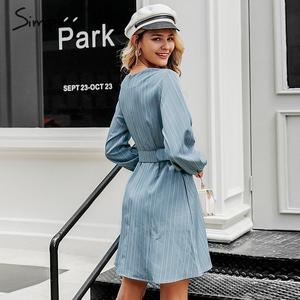 Image 3 - Simplee Sexy scollo a v a righe donne del vestito casual manica lunga cinghia di modo blu Una Linea di abito femminile Autunno inverno ufficio mini vestito