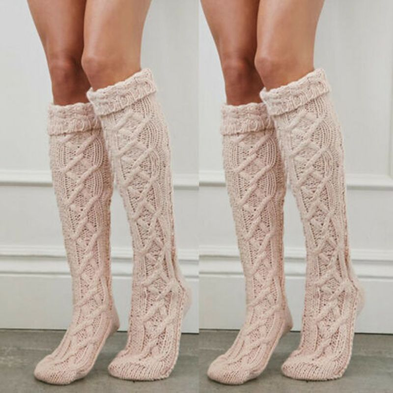Women Lady Winter Warm Knit Stockings Over Knee Long Boot Winter Thigh 59CM
