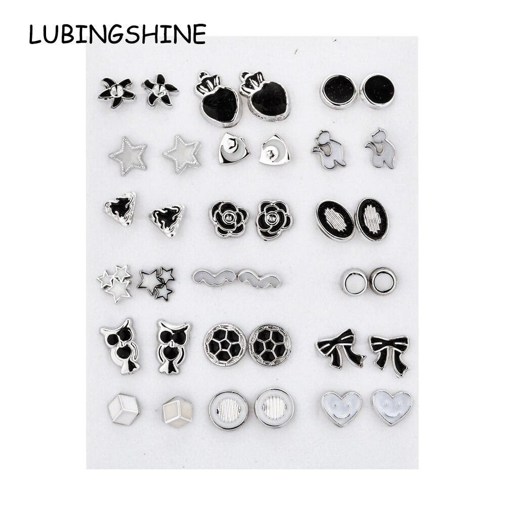 18 Pairs/Lot Mix Style Women Girl Enamel Acrylic Small Stud Earrings Set Girl Child Heart Star Animal Owl Earring Jewelry Gift
