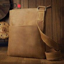 AETOO Handmade Crazy Horse leather men's bag, men's leather simple retro shoulder bag, leather men's messenger bag