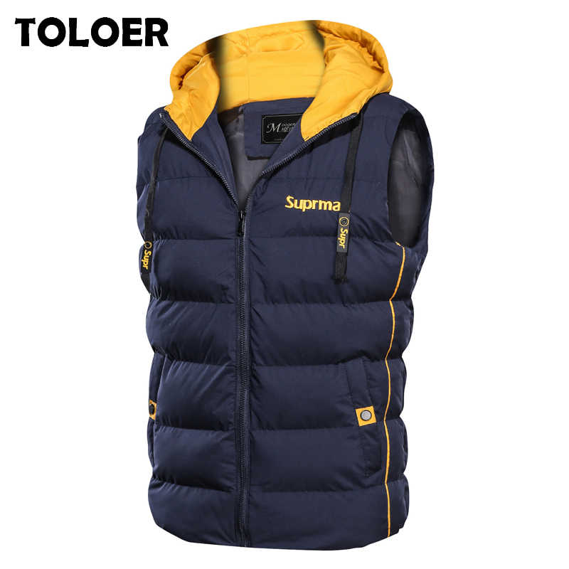 Men's Winter Vest Hooded Cotton-Padded Thicken Vest Men Windbreaker Waistcoat Jacket Sleeveless Casual Male Coats Outdoors Vests