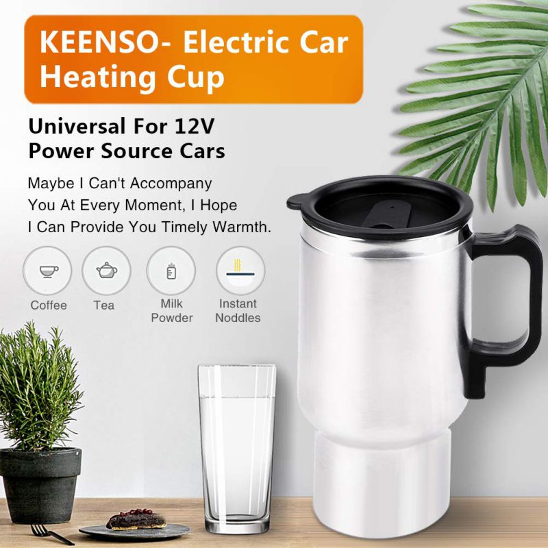 ONEWELL 12V 450ML Portable Stainless Steel Cup Kettle Travel Coffee Mug Electric Car Water Keep Warmer Kettle