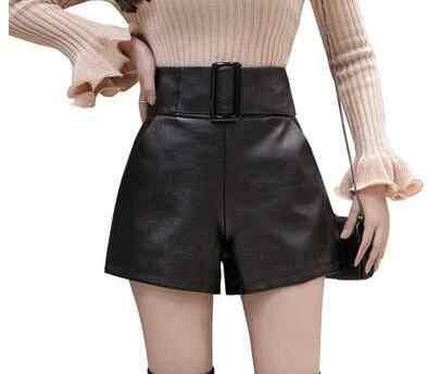 2019 PU Faux skórzane szorty kobiety wysoka talia szerokie nogi krótkie damskie Plus rozmiar Sexy czarny popędzający krótki Femme DV786'