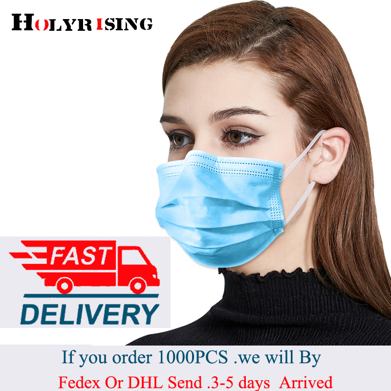 50pcs/bag Disposable Mask Mouth Non-woven Face Mask Anti Dust Mouth Nose Cover Respirators Unisex 3-Ply Test Koronawirus Kids