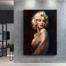 Seksi Marilyn Monroe tuval boyama klasik portre posterler ve baskılar Quadros duvar sanat resmi oturma odası için dekor Cuadros