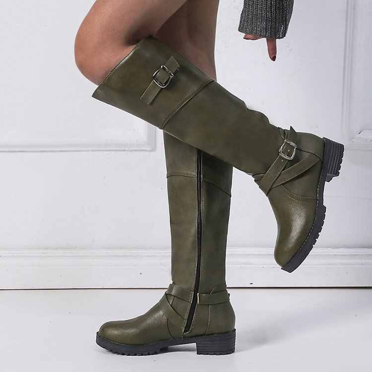 Hot Sale Spring Autumn  High Boots Women Fashion round Heel Woman Leather Shoes Winter PU Large Size 43