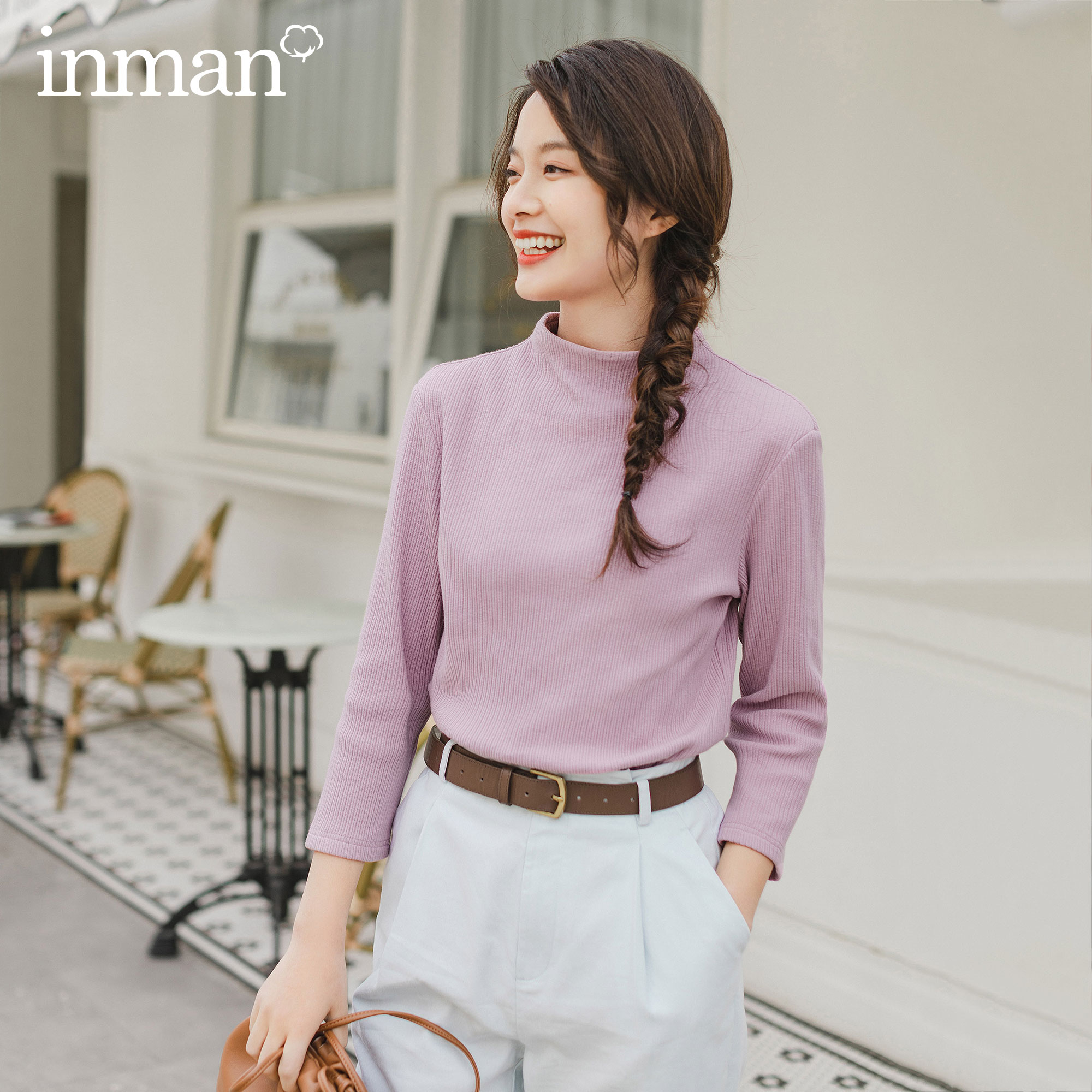 INMAN 3/4 Sleeve Women T-Shirt 2020 Spring New Arrival Artsy Stand Collar Elastic Fitting Tops T-Shirt