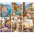 Gatyztory Farbe Durch Zahlen Für Erwachsene Kinder Meer Stadt DIY Handgemaltes Ölgemälde Landschaft Bild Home Wand Decor Geschenk