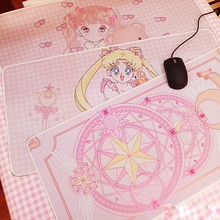 1pcs Sailor Moon Pink Large Mouse Pad Anime Card Captor Sakura Computer Keyboard Mat Cosplay Prop Decor for Women Girl(China)