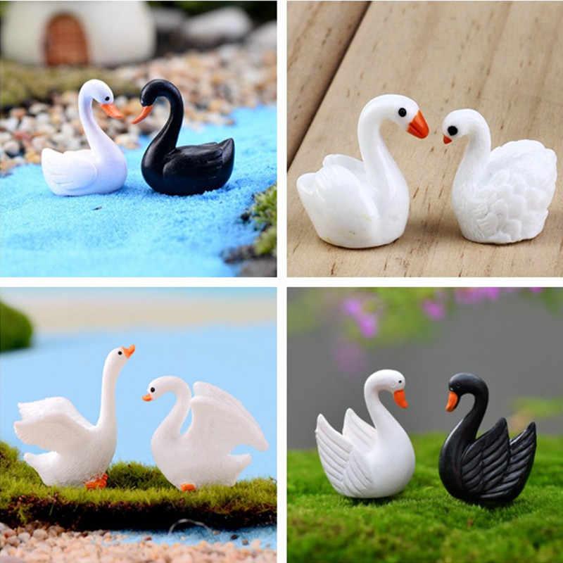 2 pièces/ensemble Mini cygne Figurine fée jardin ornements artisanat oie modèle Miniature Animal maison Micro paysage ornement