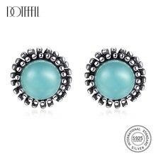 DOTEFFIL nuevo 925 puro pendientes tipo botón de plata Fina Para las mujeres joyería Fina turquesa redonda Post pendiente Joyeria Fina Para Mujer