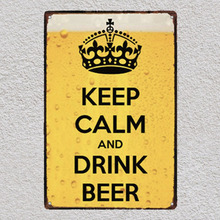Keep calm and drink beer coffee Bar sign Tin Plate Sign wall Room man cave decor Decoration Art Poster metal