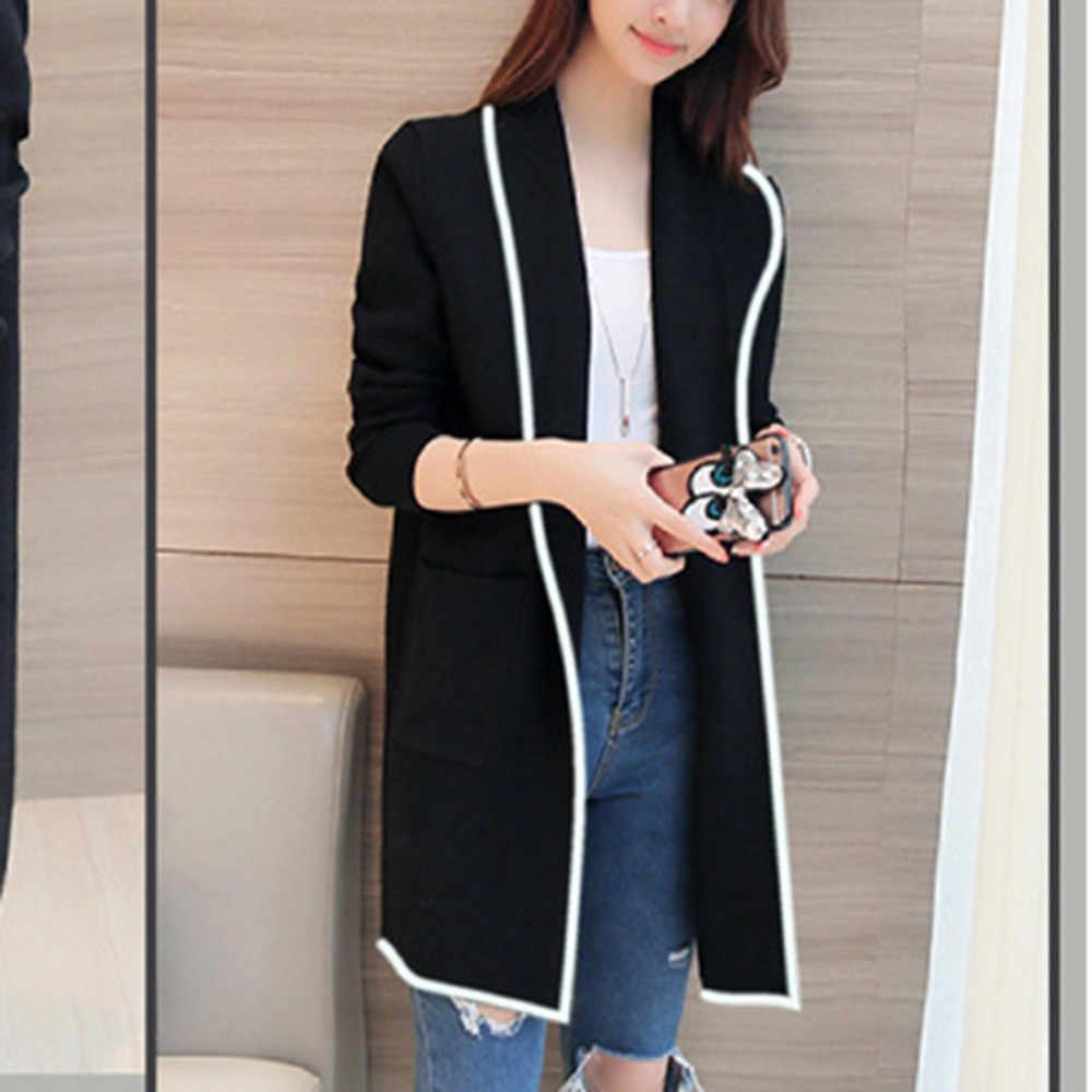 2020 여성 스웨터 여름 패션 긴 소매 얇은 카디 건 스웨터 여성 우아한 검은 주머니 야생 여성 긴 카디 건 스웨터